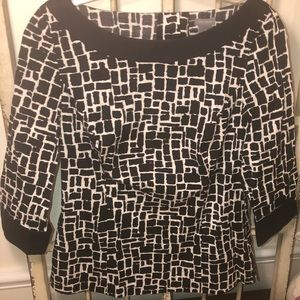 Ann Taylor Black and White Cotton Blouse